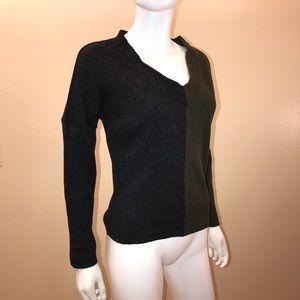 CCK Style V Neck Sweater Oliver Green Black